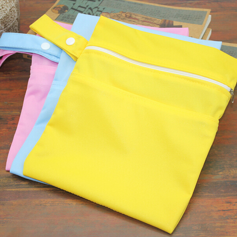Reusable Baby Diaper Bags Double Zippered Wet/Dry Bag Waterproof Wet Cloth Diaper Stroller Hanging Outerdoor Diaper Cover WetBag
