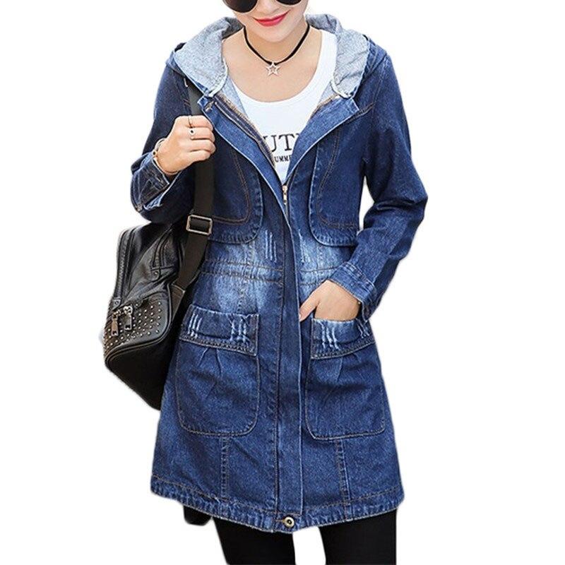 Spring Autumn New Denim   Jacket   Women Korean Loose Long Jeans   Jackets   Women's Zipper Plus size Hooded   Basic   Coat   Jackets   2XL