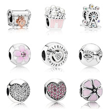 Original 925 Sterling Silver Beads Charm Treasure Chest Popcorn Ferris Wheel For Women Diy Pandora Bracelet Necklace
