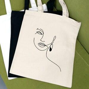 Холщовая сумка-тоут с абстрактным изображением Kpop, модные сумки для покупок, женская дорожная сумка для хранения, женская сумка-тоут на плечо в стиле харадзюку