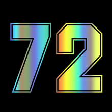 Calcomanía de vinilo troquelado para coche de carreras, pegatina de número 72, decoración para automóvil, impermeable, parachoques, ventana trasera, n. ° 31408