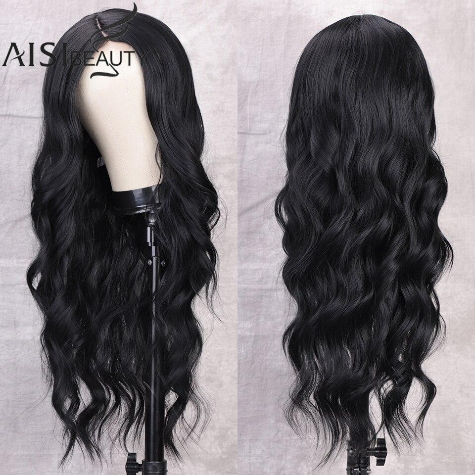 Синтетический парик, натуральные волосы для чернокожих женщин, длинный волнистый парик, блонд, средней части, афро, парики для косплея, волн...