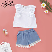 ZAFILLE Summer Kids Newborn Infant Baby Girls Clothes Sleeveless Outfits 2pcs Clothing Sets Solid Bodysuit
