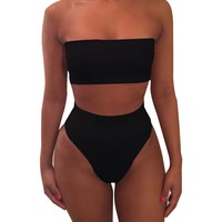 Swimwear Women Summer Bandage Bikini Bra Swimsuit Bathing Set  Dropship