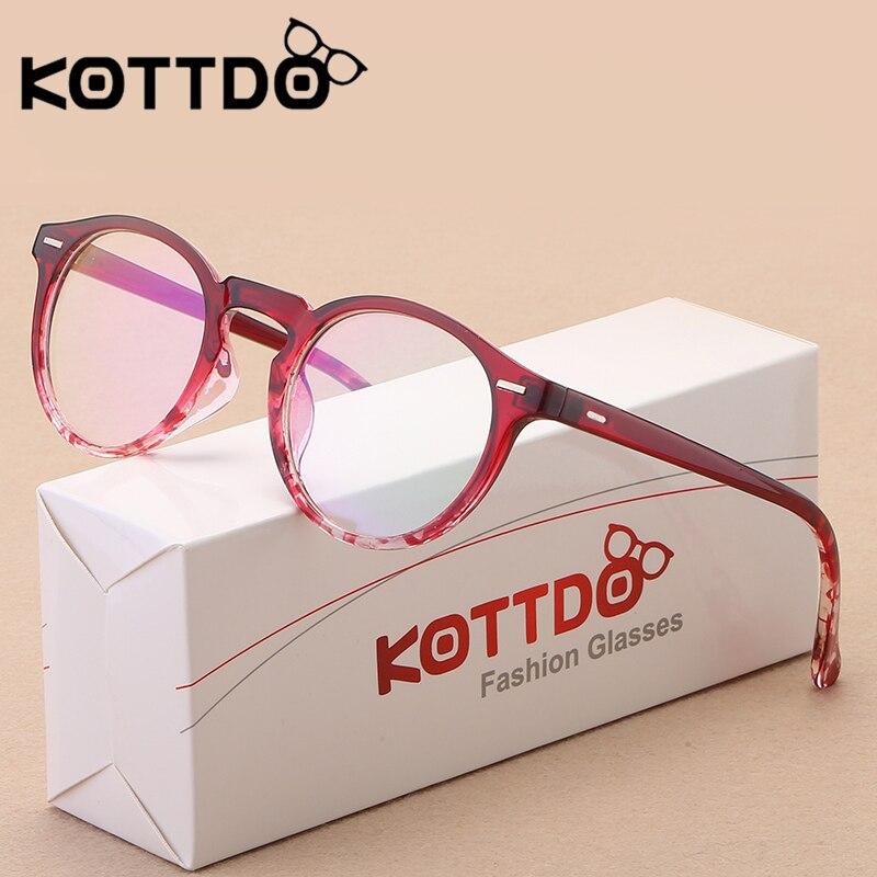Kottdo Vintage Retro Round Eyeglasses Frame Women Prescription Glasses Men Optical Eye Glasses Frame Eyewear Glasses Frame 2020