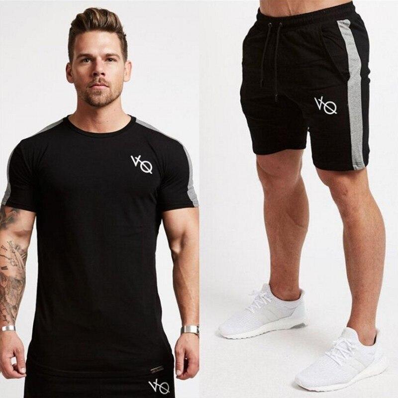 Brand 2019 Spring Summer Men GYMS Two Piece Sets Cotton T-shirt + Pants Sportwear Suit Male