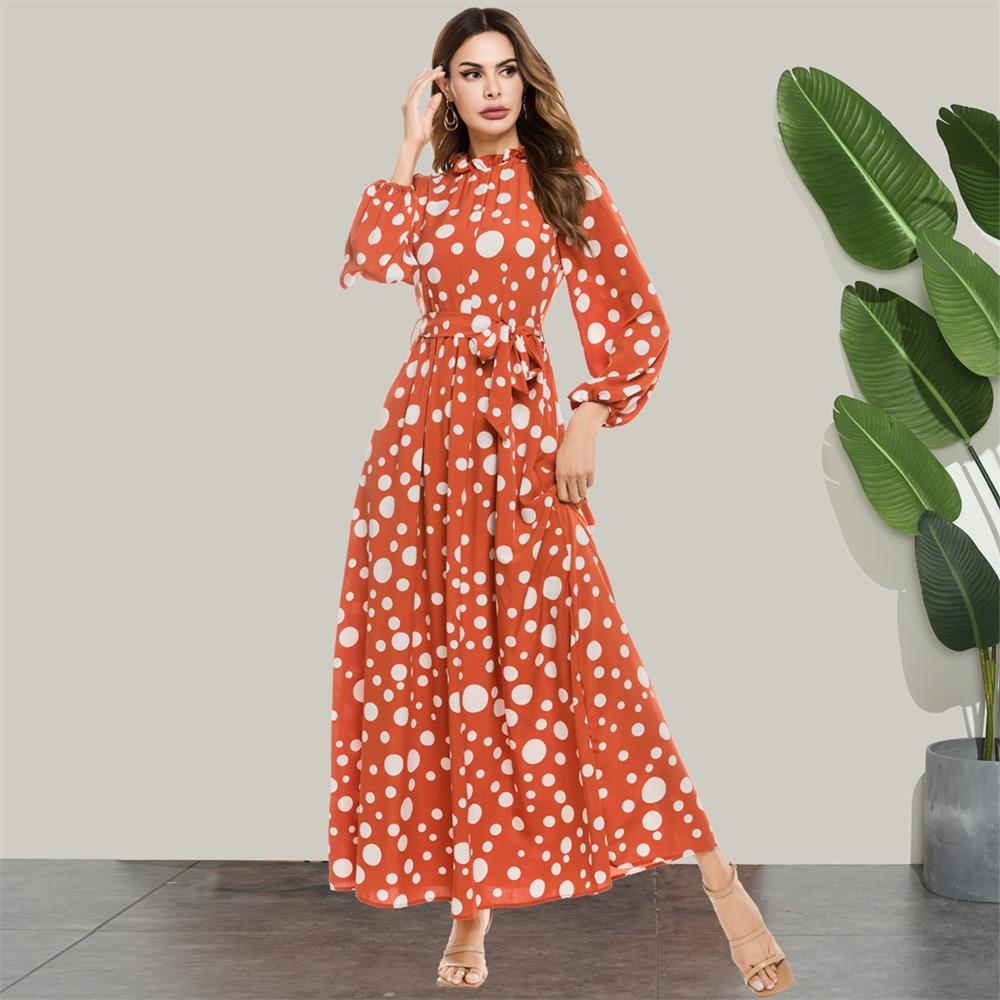 Siskakia-Vestido largo de punto elegante para mujer, Vestido largo de manga larga con cuello alto y volantes, vestidos anaranjados, ropa para mujer 2020