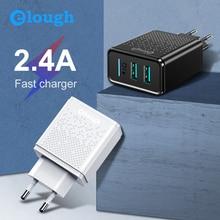 Elough EU Daul chargeur USB pour Samsung Xiaomi Huawei iPhone ue 2.4A rapide chargeur de téléphone portable adaptateur secteur