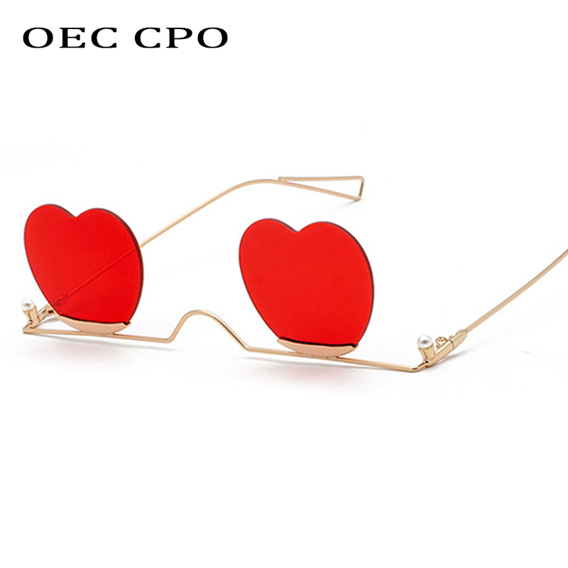 OEC CPO Fashion Rimless Heart Shape Sunglasses Women Trend Metal Glasses Frame Female Accessories Candy Color Gradient O218