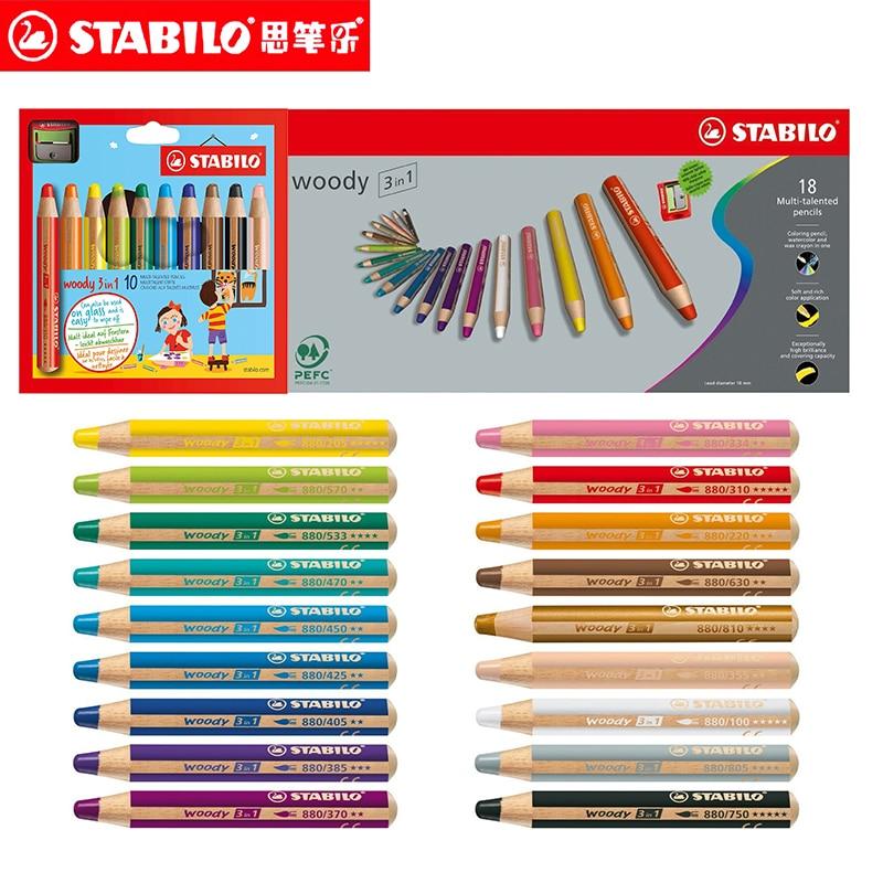 6 10 18 pces alemao stabilo invencivel cor crayon 886 ultra grosso soluvel em agua cor
