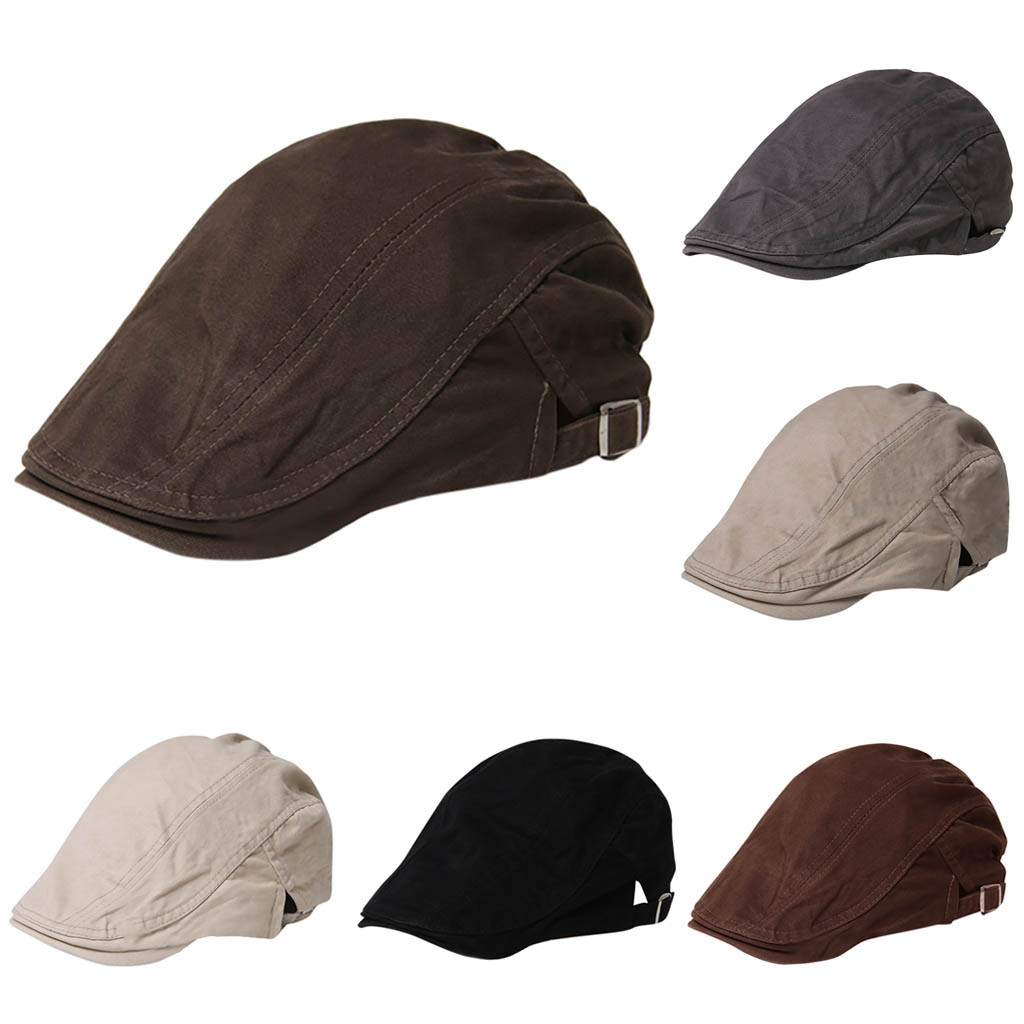 Hat Cap Beret-Caps Flat Womens Summer Visor Brim-Hats Herringbone Breathable Solid Sun