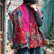 Vests Linen Chinese-Style Johnature Women Coats V-Neck Print Floral Female Vintage Winter