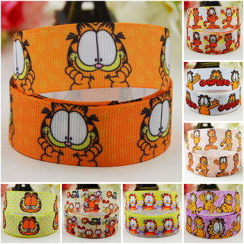 22mm 25mm 38mm 75mm Ruban Garfield Cartoon Character printed Grosgrain Ribbon party decoration 10 Yards Mul112 garfield large