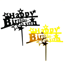 New Gold Black Happy Birthday Acrylic Cake Topper Cupcake for Kids Party