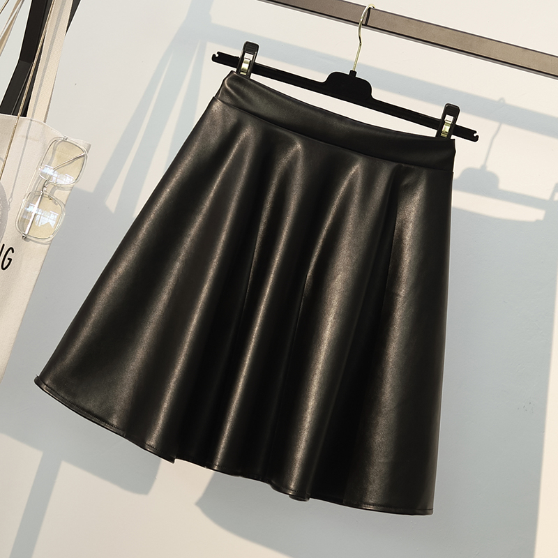 Pu <font><b>Leather</b></font> Skirts Womens Plus Size <font><b>Sexy</b></font> Soft Mini Skirt Autumn Winter Ladies A-line Faux <font><b>Leather</b></font> Skirt Black <font><b>4xl</b></font> image