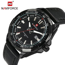 цены Brand Luxury Man Watch 2019 NAVIFORCE Fashion Quartz Watches Men Leather Strap Date Display Casual Sprots Wristwatches Hot Clock