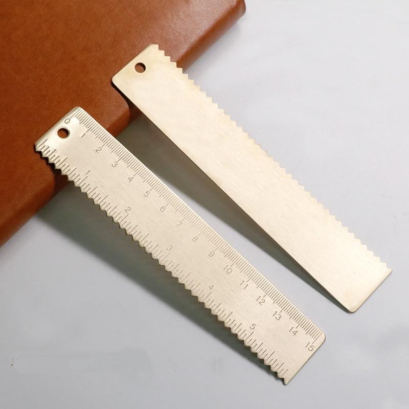 Brass Serrated Straight Ruler Metal Vintage Gift Set Measure Tools School Kids Stationery 12cm 15cm 18cm