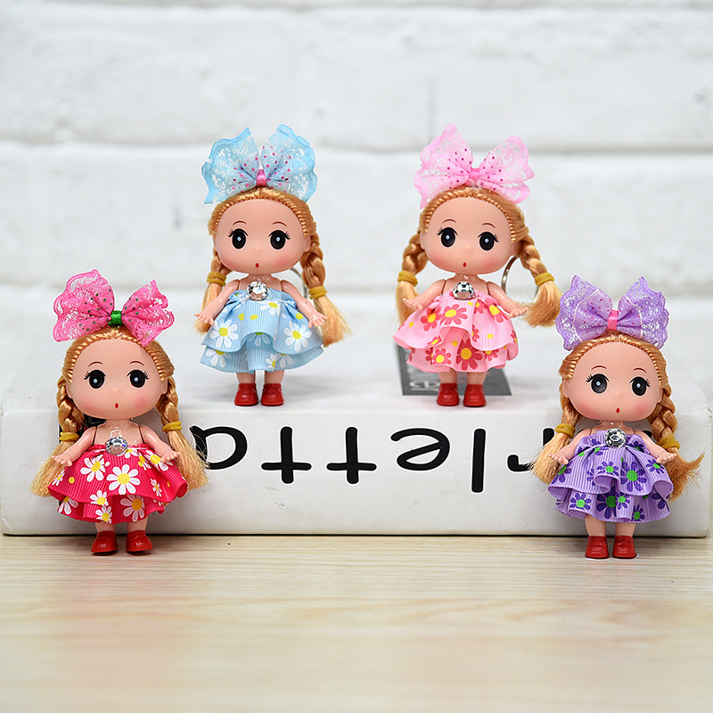 Saia floral confuso boneca fshion menina, pingente pequena atividade de aniversário meninas presente favorito bonecas para crianças 2020, 1 peça 9cm quente