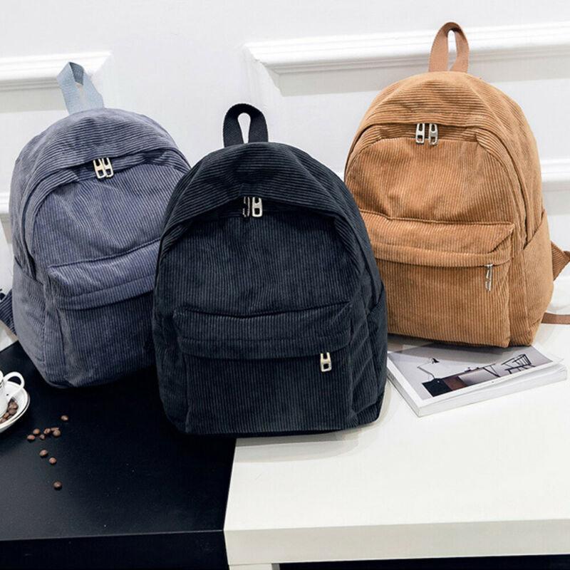 1095 Fashion Women's Backpack Travel Corduroy Student Girls Casual Rucksack School Bag For Teens