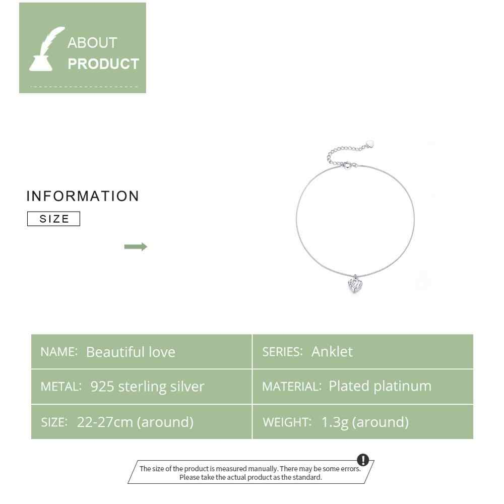 WOSTU 100% 925 スターリングシルバー繊細なハートアンクレットチェーンブレスレット女性のためのキオス島のリンクファッションアンクレットフットジュエリー CQT013