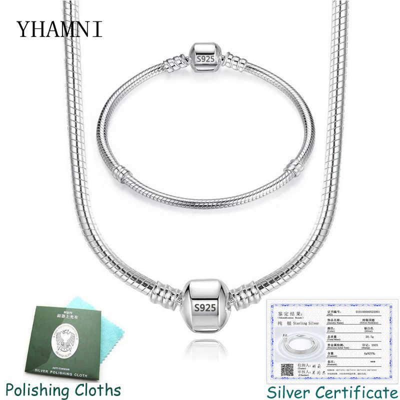 YHAMNI avec certificat Original 925 argent massif 3mm serpent os breloque collier et Bracelet ensemble bijoux à bricoler soi-même ensemble pour les femmes PT005