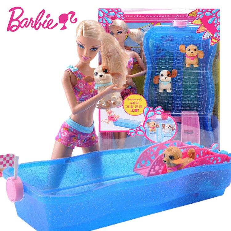 Оригинальные куклы Барби для плавания и гонки щенков, игра для купания собак, игрушки для купания для девочек, подарок на день рождения, игрушки Boneca Juguetes для детей