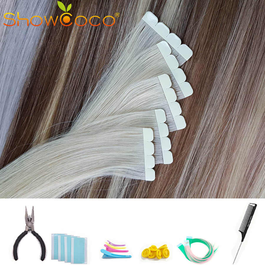 Showcoco Virgin Remy Tape in Human Hair Extension Mini Style Protein Tape Highlighted 2-3 Years One Donor Cuticle Hair Tape Ins