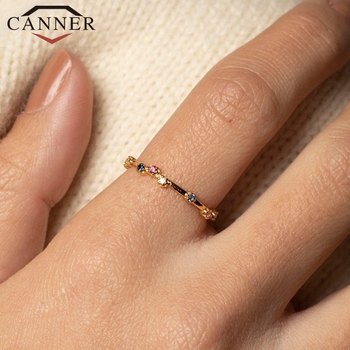 CANNER 925 Sterling Silver Rings for Women Cute Zircon Round Ring Wedding Fine Jewelry Minimalist Gift anillos