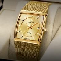 Wwoor Luxe Gouden Horloge Mannen Vierkante Japan Quartz Slanke Stalen Mesh Waterdichte Sport Automatische Datum Horloges Relogio Masculino