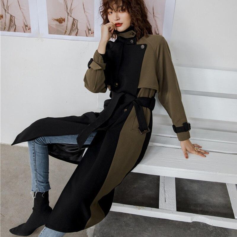 LANMREM 2020 Женская ветровка средней длины, Весенняя женская новая Корейская версия, двубортное тонкое толстое пальто 19B-a373