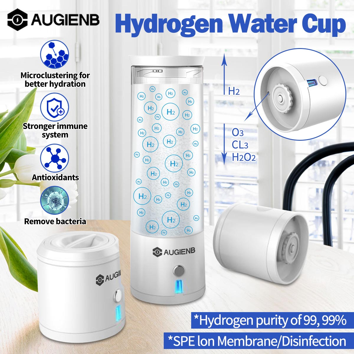 AUGIENB WH02 SPE/PEM Smart Hydrogen Rich Cup Water Bottle Ionizer Maker Generator Alkaline Energy Cup Healthy Anti-Aging Gift