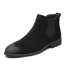 plus size mens casual breathable chelsea boots pointed toe genuine leather shoes slip-on spring autumn ankle boot zapatos botas(China)