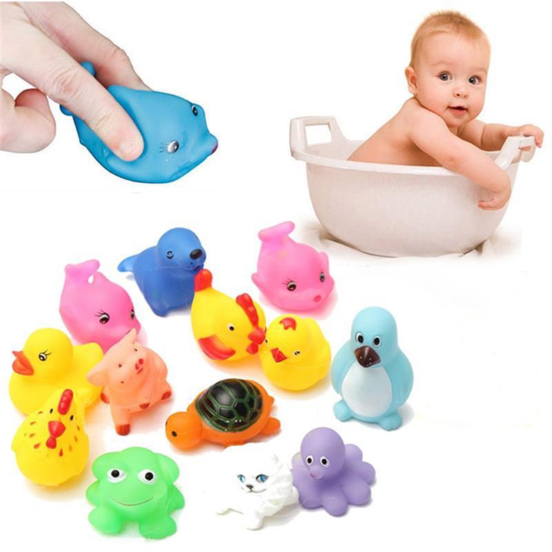 12pcs Rubber Baby Kids Bath Toys Different Animals Washing Educational Set