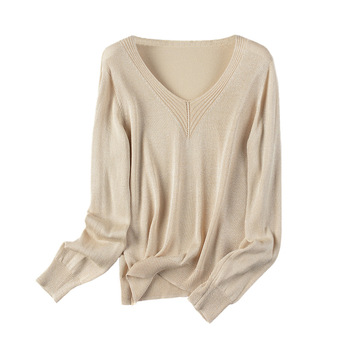 Summer Shiny Lurex Tops Women V Neck Sweater Long Sleeve Pullover Spring Autumn Knit Soft Female Jumper Jersey Mujer