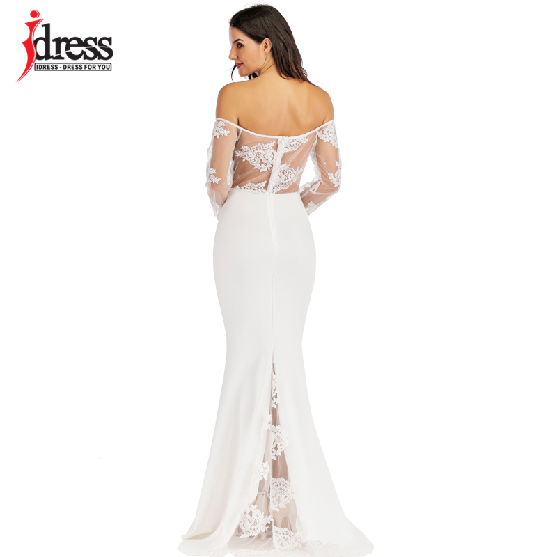 IDress Sexy Slash Neck Off Shoulder Designer Runway Dress Formal Prom Long Dress Women Lace Embroidery Evening Party Dress Long (12)