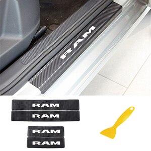 Image 1 - Auto Instaplijsten Plaat Koolstofvezel Scuff Sticker Instaplijsten Stickers Voor Dodge Ram Decoratie Anti Kras Scuff Auto Accessoires