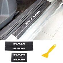 Plaque de seuil de porte de voiture en Fiber de carbone autocollant de seuil de porte autocollants pour Dodge RAM décoration anti rayures éraflures accessoires de voiture