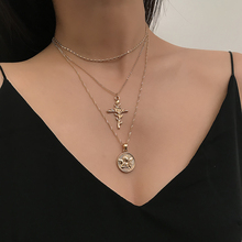 Gold Color Chain Necklaces for Women Cross rose pendant necklace ladies retro charm necklace necklace party jewelry accessories цена