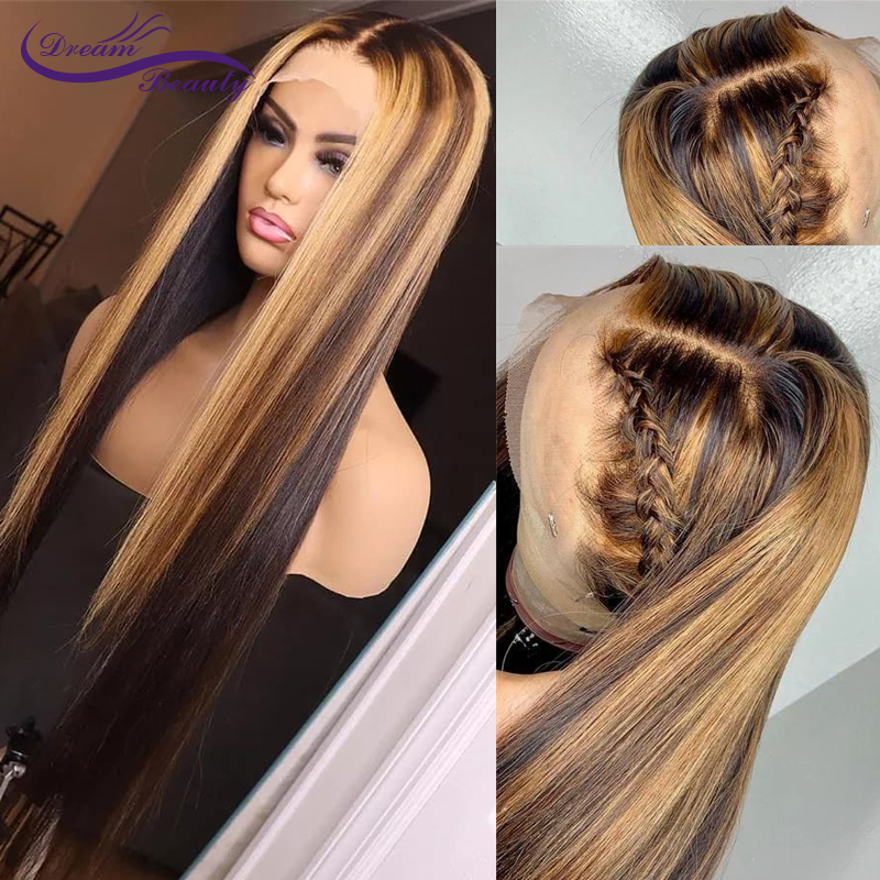 Highlight Honey Blonde Lace Front Human Hair Wigs With Baby Hair 8-24 Inches Straight Brazilian Remy Hair Lace Wig For Women