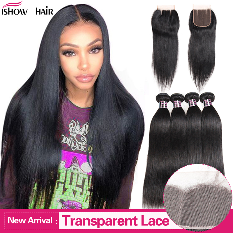 Ishow Hair Bundles With Closure Transparent Lace Closure With Bundles Malaysian Straight Hair Bundles With Closure Non-Remy Hair