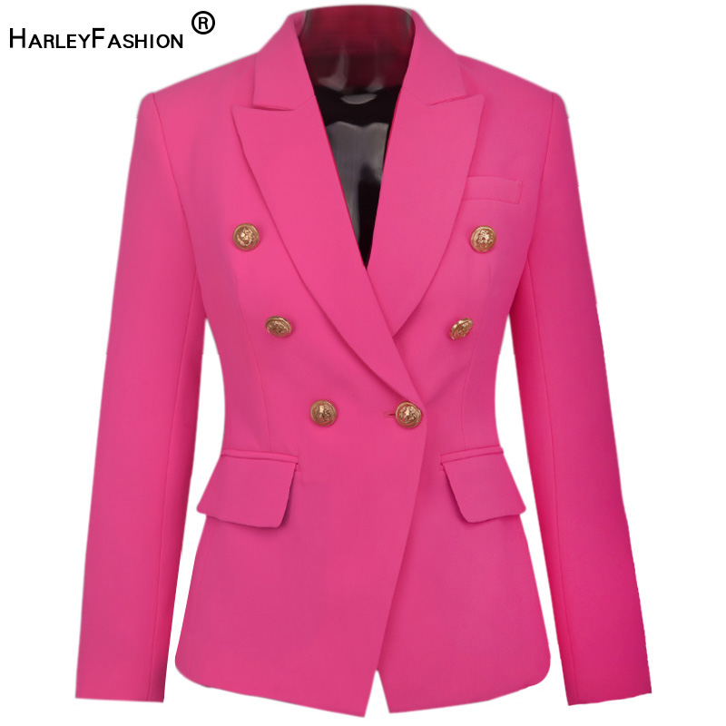 HarlyFashion European Designer Elegant Stunning Bright Color Women Fashion Blazer Metal Buttons Pink Skinny Quality Blazers