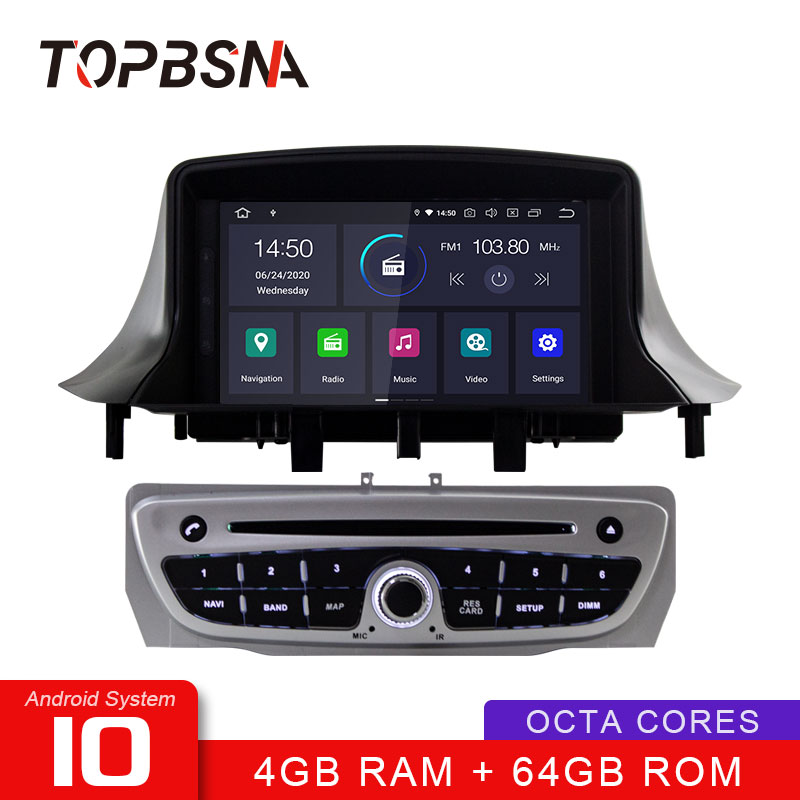 TOPBSNA 1 Din Android 10 Car DVD Player for Renault <font><b>Megane</b></font> <font><b>3</b></font> Fluence 2009-2015 <font><b>GPS</b></font> Navigation Audio 4G+64G Stereo Multimedia DSP image