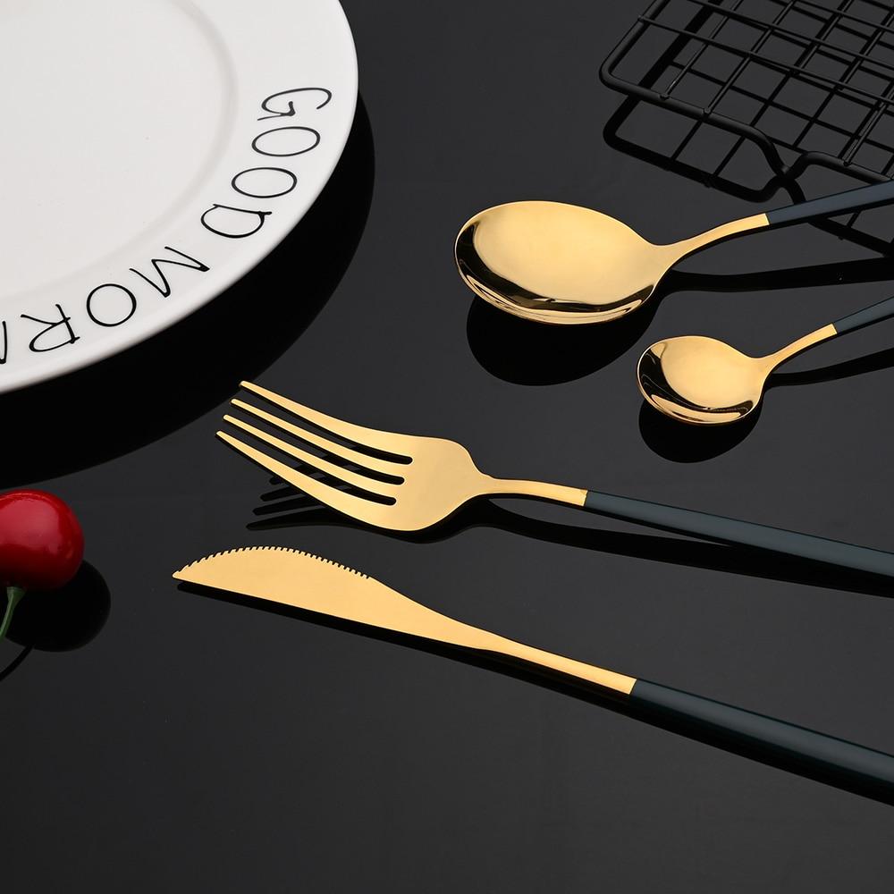 Ensemble de couverts en acier inoxydable, 24 pièces, vert et or, vaisselle miroir, couteau, fourchette, cuillère à café pour la maison 3
