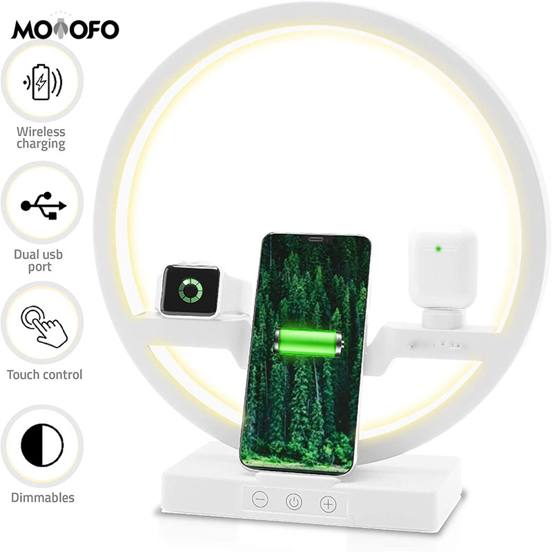 4 in 1 Wireless Charger Station Desk Lamp Fast Qi <font><b>Charging</b></font> Dock Pad for Apple Watch AirPods Pro iPhone 11/X/<font><b>8</b></font> - Stand LED Light image