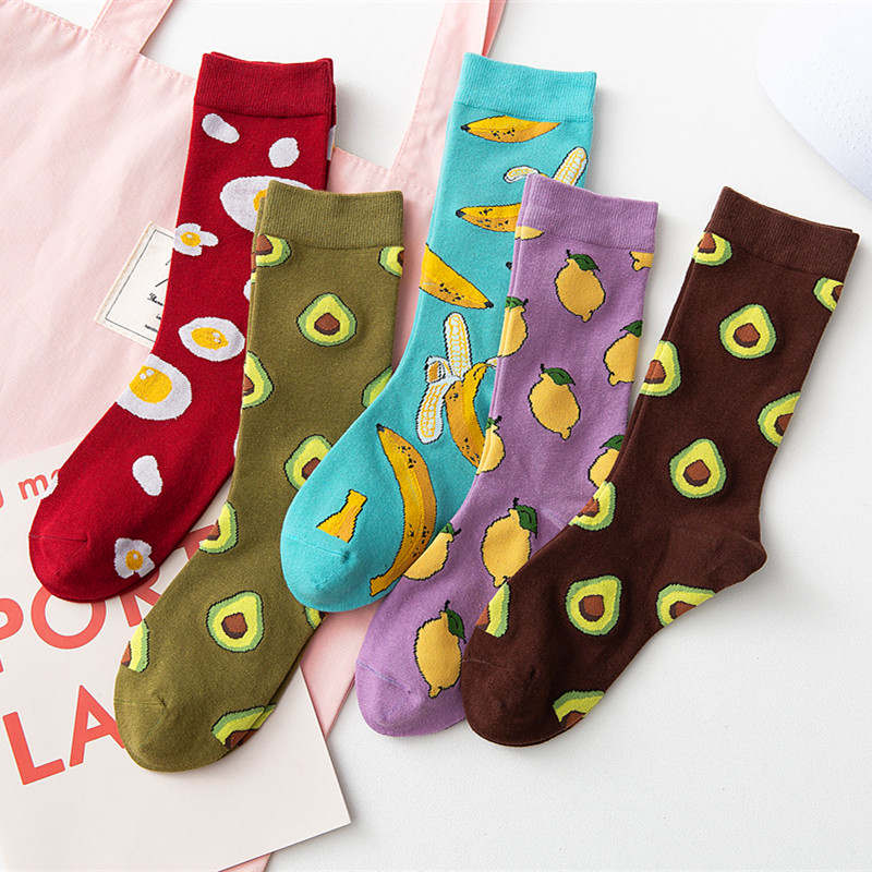 5 Pairs Women Crew Socks Funny Cute Cartoon Fruits Banana Avocado Lemon Pineapple Egg Happy Japanese Harajuku Skateboard Socks