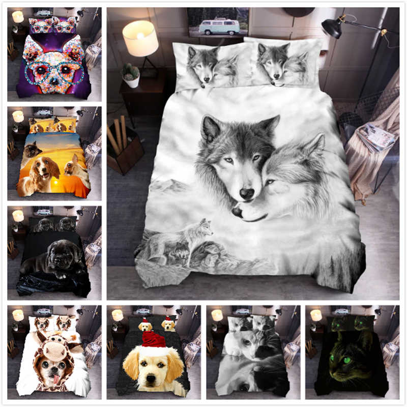 3D Wolf Bedding Set King Size Dog Cat Printing Duvet Cover Set Queen Comforter Bed Cover Set VC01#