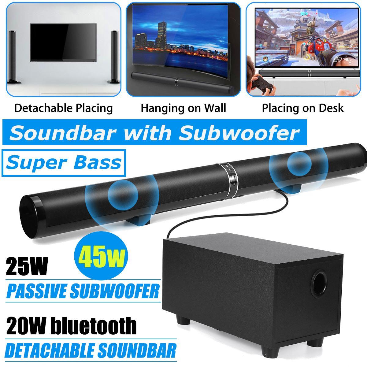 45 Вт 80 см 31,5 Саундбар с сабвуфером HiFi Съемный беспроводной bluetooth динамик 3D объемный стерео для ТВ домашнего кинотеатра системы