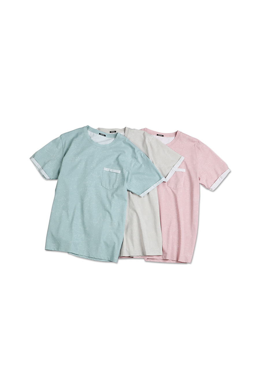 SIMWOOD 2020 summer new Layered chest pocket t-shirt men Melange vintage short sleeve fashion tshirt 100% cotton tops 190431