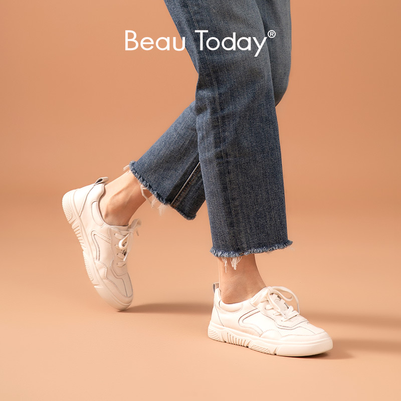 BeauToday Classic White Sneakers Women Genuine Cow Leather Cross-Tied Round Toe Ladies Casual Shoes Flat Heel Handmade A29039