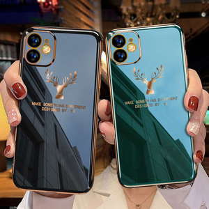 Роскошный чехол для телефона iPhone 11 12 Pro Max, силиконовый чехол с покрытием для iPhone 12 Mini 11Pro XR X XS Max, мягкий чехол с рисунком оленя|Бамперы|   | АлиЭкспресс